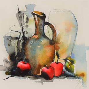 The kiss of ancient wine by Ajay Gogna, Impressionism Painting, Watercolor on Paper, Beige color