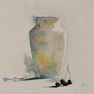 The shadow of berries by Ajay Gogna, Impressionism Painting, Watercolor on Paper, Beige color