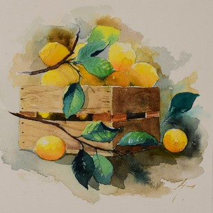 THE LEMONS CONTAINER by Ajay Gogna, Impressionism Painting, Watercolor on Paper, Beige color