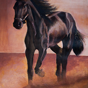 Great Stallion by Pankaj Kumar, Realism Painting, Oil on Canvas, Brown color