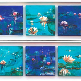 The Aqua & Lily study - from my nature series by Anukta Mukherjee Ghosh, Abstract Painting, Acrylic on Canvas, Cyan color