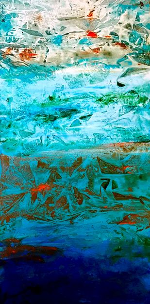 AQUA ABSTRACT by Anukta M Ghosh, Abstract Painting, Acrylic on Canvas, Cyan color