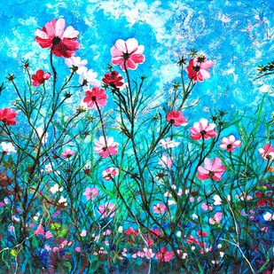 MY WONDERLAND by Anukta M Ghosh, Expressionism Painting, Acrylic on Canvas, Cyan color