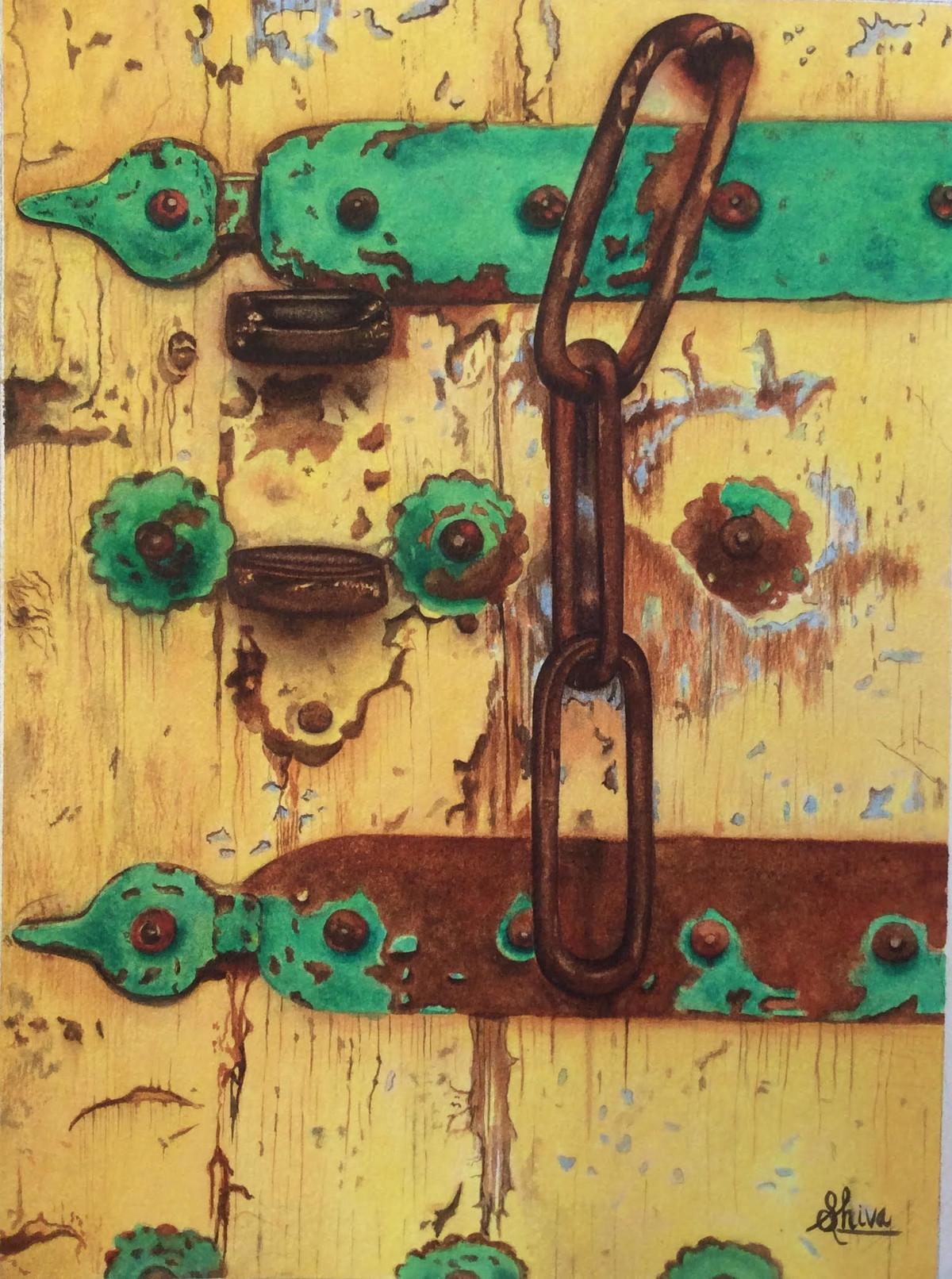 The forgotten door by Shiva Baraya, Realism Painting, Watercolor on Paper, Beige color