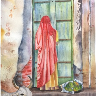 The fruit seller by Shiva Baraya, Impressionism Painting, Watercolor on Paper, Beige color