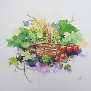 Strawberries crush by Ajay Gogna, Impressionism Painting, Watercolor on Paper, Gray color