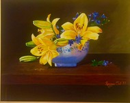 Still life Lilly flower by Kangana Vohra , Decorative Painting, Acrylic on Canvas, Brown color