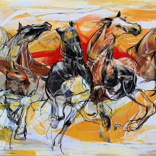Running Horses by Priyendra Shukla, Expressionism Painting, Acrylic on Canvas, Beige color