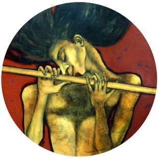 "Golden Flute Oil Acrylic & Charcoal on Canvas ""In Stock"" by Shuvaprasanna B, Expressionism Painting, Oil & Acrylic on Canvas, Brown color"