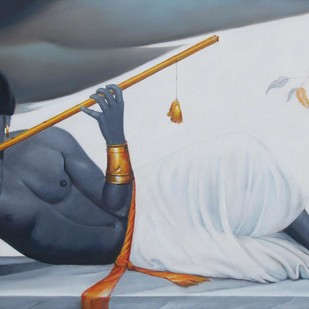 "The Reclining Krishna, Oil on Canvas by Contemporary Artist ""In Stock"" by Wasim R Kapoor, Expressionism Painting, Oil on Canvas, Gray color"
