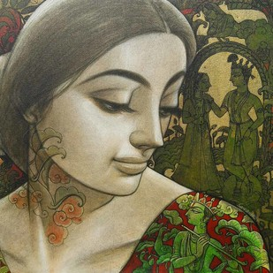 "Radhika, Mixed Media on Canvas by Contemporary Artist ""In Stock"" by Sukanta Das, Expressionism Painting, Mixed Media on Canvas, Green color"