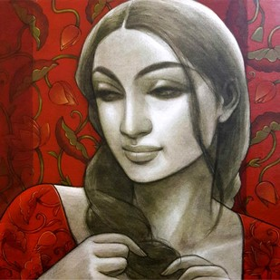 "Radhika, Mixed Media on Canvas by Contemporary Artist ""In Stock"" by Sukanta Das, Expressionism Painting, Mixed Media on Canvas, Brown color"