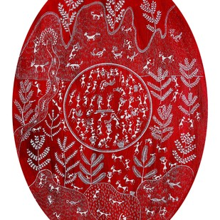 ANCIENT WARLI ARTS ON CANVAS by HARPREET KAUR PUNN, Folk Painting, Acrylic on Canvas, Red color