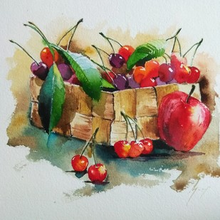 The Cherries box by Ajay Gogna, Impressionism Painting, Watercolor on Paper, Gray color