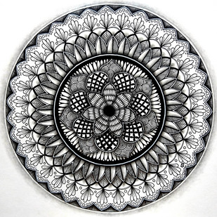 Flower Zendala by Shweta, Illustration Drawing, Ink on Paper, Gray color