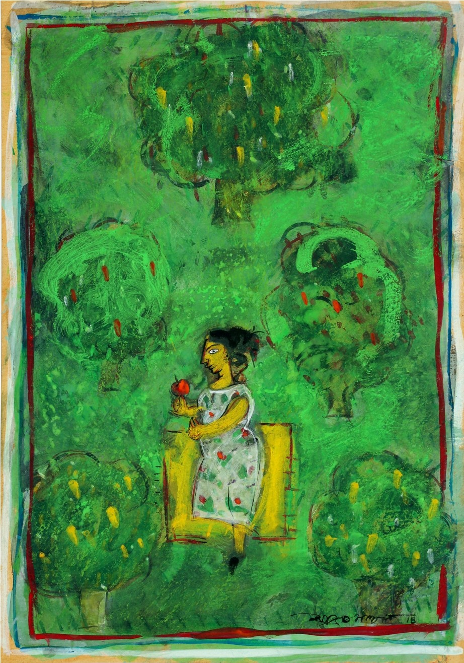 Lady in Green. by Subroto Mandal, Expressionism Painting, Tempera on Paper, Green color