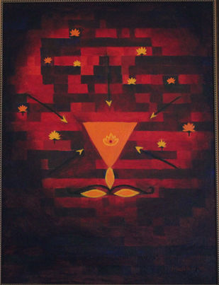the Eternal by Mallika Bulusu, Conceptual Painting, Oil on Canvas Board, Brown color