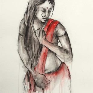 Indian Lady 17 by MADURAI GANESH, Illustration Painting, Watercolor and charcoal on paper, Beige color