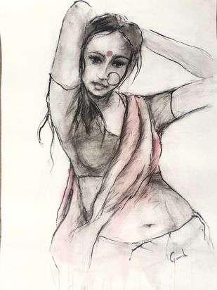 Indian Lady 18 by MADURAI GANESH, Illustration Painting, Watercolor and charcoal on paper, Beige color