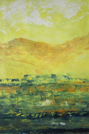 Landscape 2019_13 by Anamika S, Abstract Painting, Acrylic on Canvas, Beige color