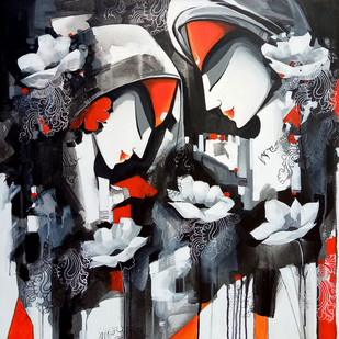love story by pradeesh k raman, Decorative Painting, Acrylic on Canvas, Gray color