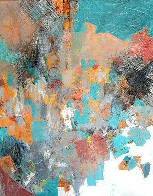 burning boundaries by RUCHIKA KAWLRA MOTWANI, Abstract Painting, Oil on Canvas, Beige color