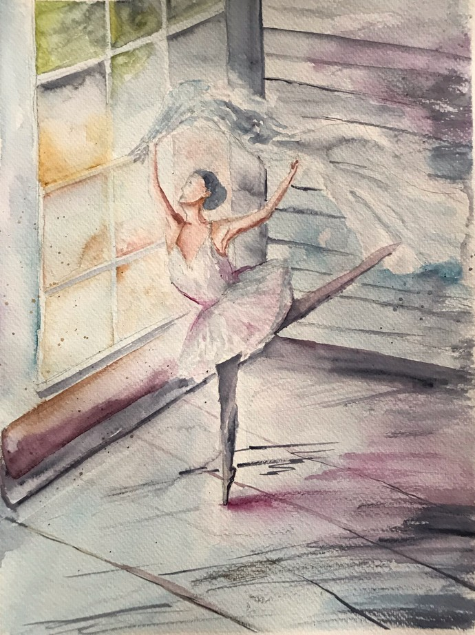 The Ballerina by Nahid Aamina Sowkath, Impressionism Painting, Watercolor on Paper, Beige color