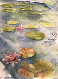 Lotus pond by Nahid Aamina Sowkath, Impressionism Painting, Watercolor on Paper, Beige color