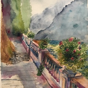 The balcony by Nahid Aamina Sowkath, Impressionism Painting, Watercolor on Paper, Brown color