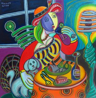 French Women with her Labrador Sipping Mocktail by Mahalakshmi R, Expressionism Painting, Oil on Canvas, Brown color