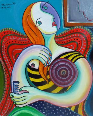 Women Straightening Hair by Mahalakshmi R, Expressionism Painting, Oil on Canvas, Brown color