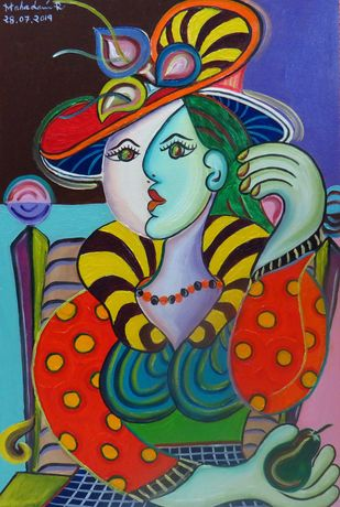 Girl Sitting on Framed Chair holding Avacado Pear by Mahalakshmi R, Expressionism Painting, Oil on Canvas, Green color