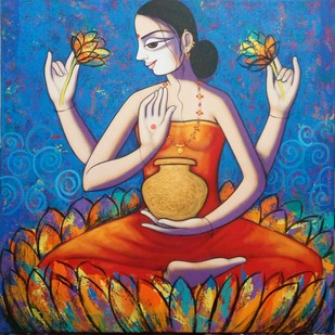 Goddess Laxmi by Pravin Utge, Expressionism Painting, Acrylic on Canvas, Blue color