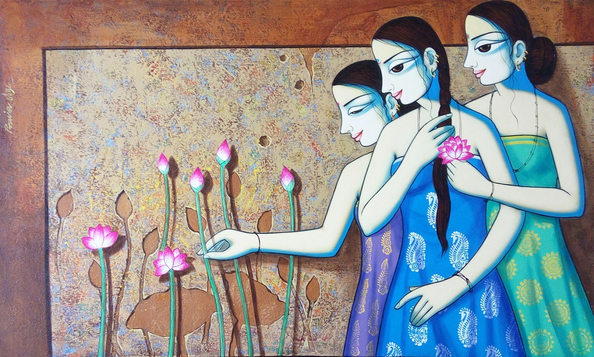 Girls with lotus by Pravin Utge, Decorative Painting, Acrylic on Canvas, Brown color