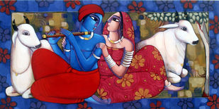 Romantic Couple by Sekhar Roy, Decorative Painting, Acrylic on Canvas, Blue color