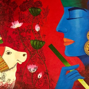 Contemporary Lord Krishna with Nandi by Kangana Vohra , Expressionism Painting, Acrylic & Ink on Canvas, Red color