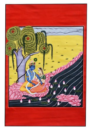 RASLEELA by Unknown Artist, Traditional Painting, Stone Colour on Cloth, Pink color