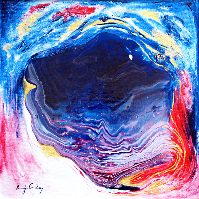 Descending-1 (Series) by rajendra ray, Abstract Painting, Mixed Media on Board, Blue color