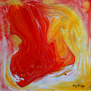 Descending-2 (Series) by rajendra ray, Abstract Painting, Mixed Media on Board, Red color