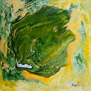 Descending-3 (Series) by rajendra ray, Abstract Painting, Mixed Media on Board, Green color