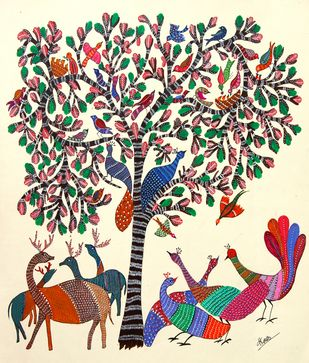 ANCIENT GOND ARTS ON HANDMADE PAPER by HARPREET KAUR PUNN, Folk Painting, Acrylic & Ink on Canvas, Beige color