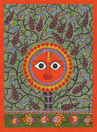 Sun Digital Print by Sarita Devi,Folk