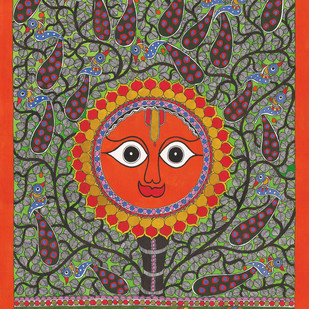Sun by Sarita Devi, Folk Painting, Acrylic on Paper, Brown color