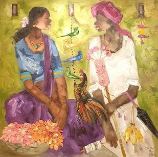 """Badami People, Oil on Canvas by Contemporary Artist """"In Stock"""" by J M S Mani, Expressionism Painting, Oil on Canvas, Beige color"""