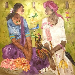 "Badami People, Oil on Canvas by Contemporary Artist ""In Stock"" by J M S Mani, Expressionism Painting, Oil on Canvas, Beige color"
