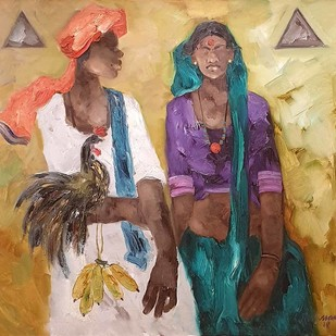 "Badami People, Oil on Canvas by Contemporary Artist ""In Stock"" by J M S Mani, Expressionism Painting, Oil on Canvas, Brown color"