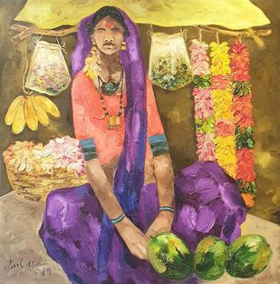"""Badami People, Oil on Canvas by Contemporary Artist """"In Stock"""" by J M S Mani, Expressionism Painting, Oil on Canvas Board, Brown color"""