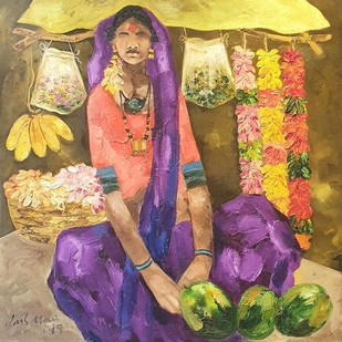 "Badami People, Oil on Canvas by Contemporary Artist ""In Stock"" by J M S Mani, Expressionism Painting, Oil on Canvas Board, Brown color"