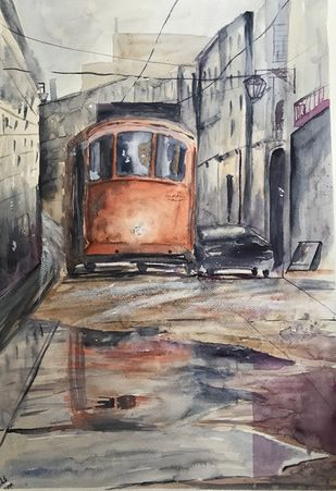 Looking ahead. by Nahid Aamina Sowkath, Impressionism Painting, Watercolor on Paper, Brown color