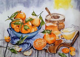Oranges & Honey Digital Print by Cheryl Monis,Impressionism